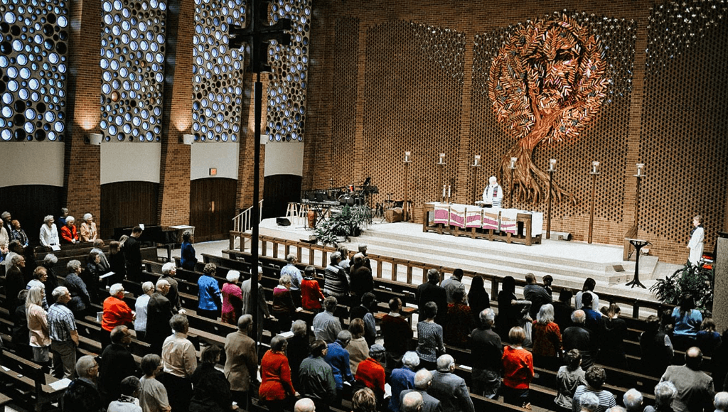 The Olivet Lutheran Church congregation worshiping